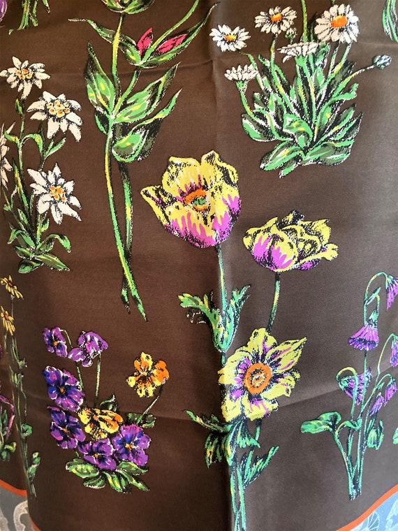 Gucci Silk Scarf, Colorful Flowers, Thistle Antel… - image 3