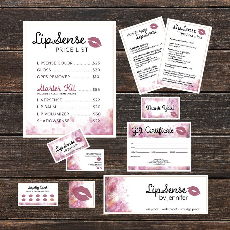 LipSense Bundle- Business Card- Loyalty, Application , Tips and Tricks,  Facebook Banner, Price List, LipSense Gift Certificate, Thank You