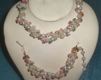 Vintage Small Pastel Shell, white beads Necklace with Matching Bracelet