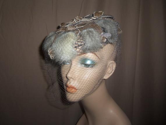 Vintage 1950s era Veiled Glamour Beige/Brown Velve