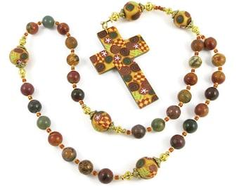 Red Creek Jasper Anglican Rosary Prayer Beads Episcopal Polymer Clay Canework Protestant Handmade Cross Spirituality & Religion