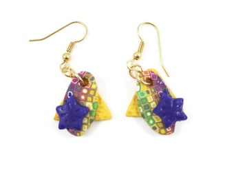 Geometric Shapes Pierced Earrings Pixelated Polymer Clay Canework Purple Stars Goldplated Earwires Geometric Jewelry Dangle Earrings