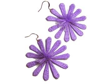 Purple Flower Earrings, Handmade Flower Earrings, Boho Flower Earrings, Floral Earrings, Big Flower Earrings