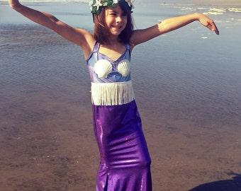 Kids Mermaid Sea Shell Top