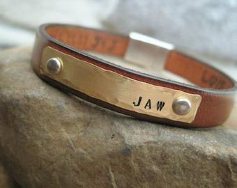 Hidden Message Leather Bracelet - Mens, Womens, Childrens Custom Bracelet