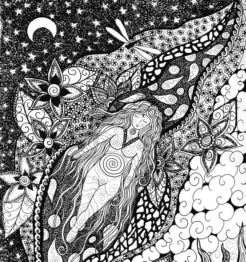 Black and white fabric panel  Floating By Cindy Watkins 41cm x41cm Goddess floating in a sea of flowers and dragonflys