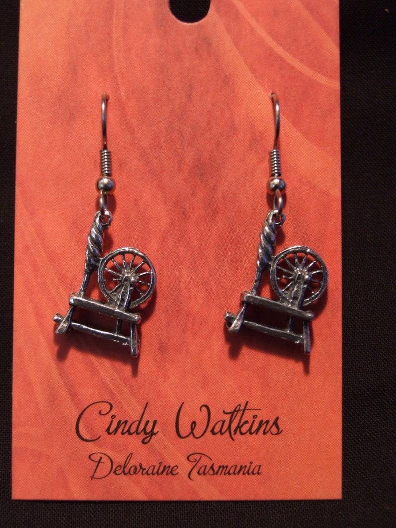 Spinning wheel earrings made with Australian Pewter and Surgical Steel hook