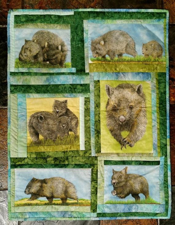 Wild Wombats  fabric collection by Cindy Watkins  Wombat on the move  coloured original design