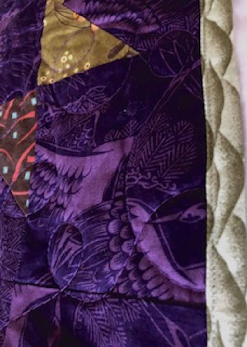 38x51 Reversible Purple Asian Stars Cranes Traditional Floral Patchwork Quilt Home Office Decor Handmade Tabletopper Crib Lap Size