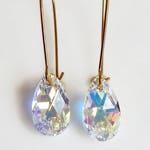 Iridescent crystal teardrop earrings - crystal earrings - Swarovski crystal - bridesmaid earrings - wedding jewelry - bridal earrings