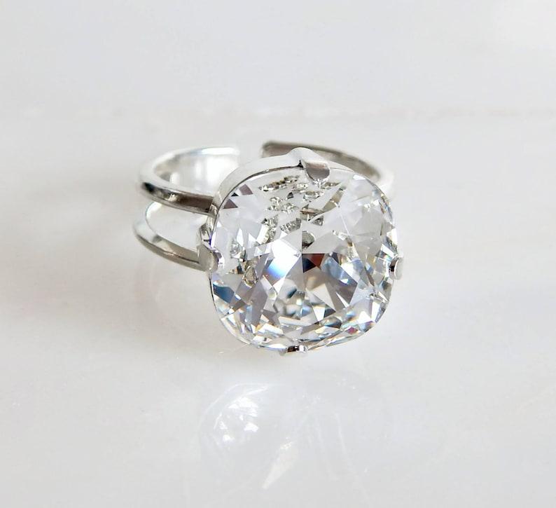 f4b27eaa8 Clear crystal ring Swarovski crystal cushion cut square | Etsy