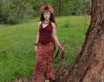 Handdyed Long Iris Skirt Bellydance Mermaid Faerie Goddess Earthy Red Brown 2 sizes