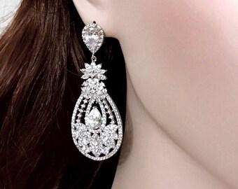 Statement Bridal Earrings, Hollywood Glamour Bridal Jewelry, Vintage Wedding Earrings, Cz Drop Earrings, Cubic Zirconia Earrings, STARLET