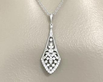 Art Deco Wedding Necklace, Gatsby 1920s Vintage Style Bridal Necklace, Geometric Cz Pendant, Zirconia Gold Jewelry Gift for Her, ATELIA