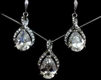 Cz Drop Bridal Jewelry Set, Infinity Bridal Earrings, Twirl Wedding Necklace, Cubic Zirconia Gold or Silver Wedding Jewelry, TWIRL