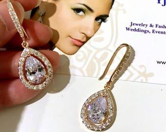 Rose Gold Bridal Earrings, Cz Pear Drop Wedding Earrings, Teardrop Dangle Earrings, Cubic Zirconia Bridal Jewelry, Classic Jewelry, LAUREN