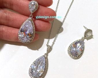 Cz Bridal Jewelry Set, Dangle Bridal Earrings, Teardrop Bridal Necklace, Cubic Zirconia Wedding Jewelry, Silver Jewelry, Gift for Her, RAINA