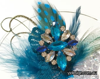 Something Blue Feather Bridal Hair Clip, Boho Bridal Fascinator, Upcycled Vintage Accessory, Crystal Pendant, Bohemian Brooch, FEATHERTINI