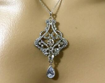 Statement Bridal Necklace, Art Deco Wedding Necklace, Gatsby Wedding Jewelry, Swarovski Crystal Necklace, Cz Drop Bridal Jewelry, CARMEN