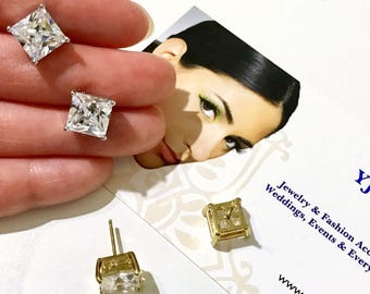 Square Stud Posts Bridal Earrings, Cz Wedding Earrings, Princess Cut Earrings, Minimalist Earrings, Silver Earrings, Gold Earrings, CARRE