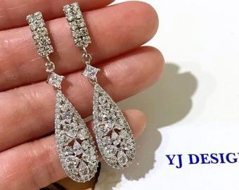 Gatsby Bridal Earrings, Cz Pear Drop Earrings, Geometric Wedding Earrings, Art Deco Wedding Jewelry, Cubic Zirconia Bridal Jewelry, TAMARA