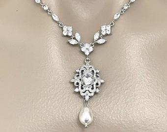 Statement Bridal Necklace, Vintage Style Victorian Wedding Necklace, Damask Fleur De Lis Pendant, Pearl Drop Cz Zirconia Bridal Jewelry RAIA