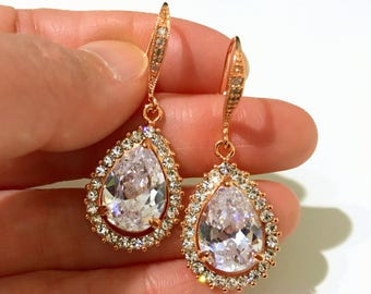 Rose Gold Bridal Earrings, Cz Pear Drop Wedding Earrings, Cubic Zirconia Bridal Jewelry, Classic Wedding Jewelry, Gift for Her, MIKA