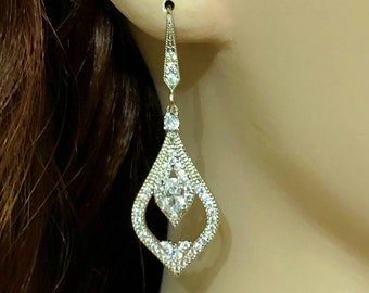 Victorian Bridal Earrings, Vintage Style Wedding Earrings, Cubic Zirconia Cz Wedding Jewelry, Silver Bridal Jewelry, Gift for Her, ARABIA