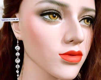 Long Dangle Bridal Earrings, Geometric Round Wedding Earrings, Cz Bridal Jewelry, Silver Linear Earrings, Gold Wedding Jewelry, GRACE