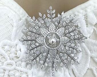 Star Bridal Brooch, Starburst Wedding Brooch, Celestial Wedding Jewelry, Bustier Dress Sash Pin, Swarovski Pearl Cz Brooch Pin, SNOWFLAKE