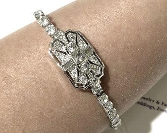 Gatsby Wedding Bracelet, Art Deco Bridal Bracelet, 1920 Vintage Style Bracelet, Geometric Bracelet, Cubic Zirconia Cz Bridal Jewelry, ELITE