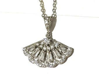 Geometric Bridal Necklace, Gatsby Wedding Necklace, Fan Shape Pendant, Art Deco Wedding Jewelry, Silver or Rose Gold Cz Necklace, FANNING