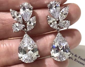 Leaves Bridal Earrings, Woodland Wedding Earrings, Cz Drop Earrings, Leaf Dangle Earrings, Cubic Zirconia Bridal Jewelry Gift, LAURINA