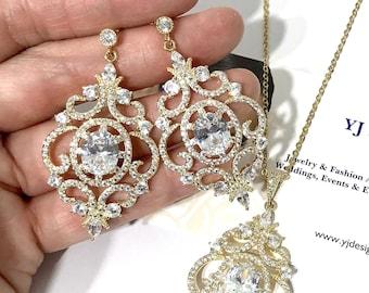 Vintage Style Bridal Jewelry Set, Chandelier Bridal Earrings, Victorian Wedding Necklace, Cz Cubic Zirconia Wedding Earrings Gifts, ARYANA