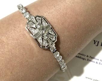 Art Deco Bridal Bracelet, Gatsby Wedding Bracelet, Vintage Style Boho Wedding Geometric Cubic Zirconia Cz Bracelet, Gift for Her, ELITE