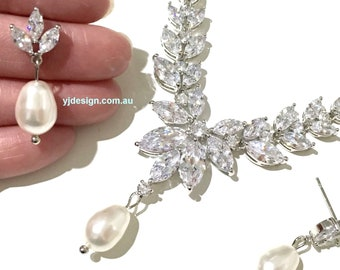 Cz Bridal Jewelry Set, Cubic Zirconia Bridal Necklace, Leaves Bridal Earrings, Swarovski Pearl Drop Wedding Jewelry, Gift for Her, ASTUTE
