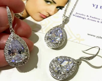 Cz Bridal Jewelry Set, Teardrop Wedding Necklace, Dangle Bridal Earrings, Pear Drop Earrings, Cubic Zirconia Wedding Jewelry, MANDOLIN