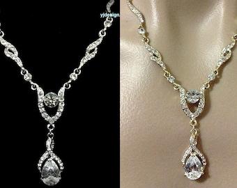 Gold or Silver Bridal Necklace, Infinity Wedding Teardrop Necklace, Swarovski Crystal Bridal Jewelry, Cz Drop Wedding Jewelry, JETAIME