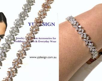 Cz Bridal Bracelet, Marquise Wedding Bracelet, Flower Bracelet, Silver Rose Gold Bracelet, Cubic Zirconia Bridal Jewelry Gift, PRESTIGIA