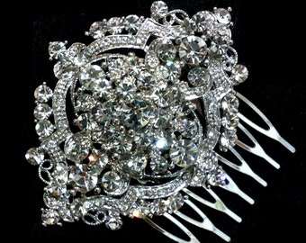 Art Deco Bridal Hair Comb, Victorian Wedding Headpiece, Gatsby Wedding Hair Comb, Swarovski Crystal Bridal Hair Jewelry, Gift for Her, ALPHA