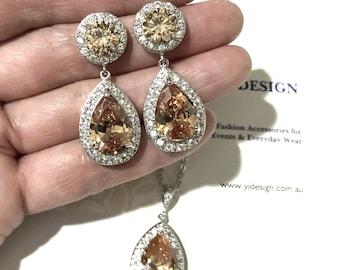 Topaz Brown Earrings Necklace Set, Bridal Party Bridesmaids Gifts Jewelry, Orange Amber Pear Drop Earrings, Cz Teardrop Necklace, SANSANI