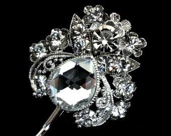 Art Deco Hair Pin, Swarovski Crystal Bridal Hair Jewelry, Boho Wedding Hair Pin, Nouveau Bridal Headpiece, Bridesmaid Gift, LENA