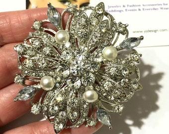 663261597 GALAXY Wedding Brooch, Starburst Bridal Brooch, Wedding Dress Bustier Sash  Pin, Flower Floral Bouquet Pin. Crystal Pearl Wedding Jewelry