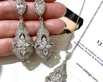 Art deco Bridal Jewelry Set, Cz Wedding Necklace, Vintage Wedding Earrings, Cubic Zirconia Bridal Earrings, Drop Bridal Necklace, ARIEL