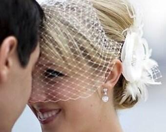 Wedding Fascinator Veil Set, Rustic Bridal Headpiece, Wedding Veil, Flower Hair Clip, Birdcage Veil, Feather Fascinator, RACHEL VANDA
