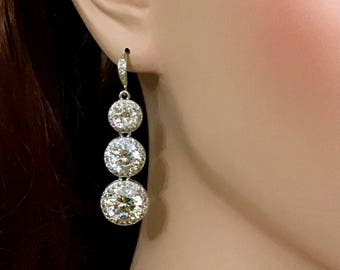 Brilliant Cut Cz Bridal Earrings, Geometric Wedding Earrings, Round Cubic Zirconia Bridal Jewelry, Silver Linear Wedding Jewelry, PORTIA