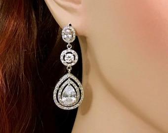 Cz Bridal Earrings, Cubic Zirconia Wedding Earrings, Pear Drop Silver Wedding Jewelry, Glamour Luxury Teardrop Bridal Jewelry, OMEGA