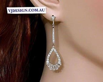 Art Deco Wedding Earrings, Cz Bridal Earrings, Gatsby Earrings, Linear Earrings, Drop Dangle Earrings, Silver Wedding Jewelry, ERICA