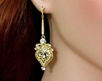 Gold Bridal Earrings, Art Deco Wedding Earrings, Victorian Earrings, Gatsby Earrings, Swarovski Dangle Earrings, Cz Bridal Jewelry, IVANKA