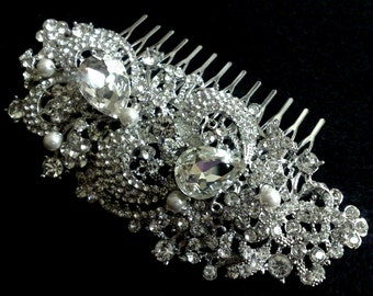 Statement Wedding Headpiece, Bridal Hair Jewelry, Bridal Hair Comb, Flower Bridal Headpiece, Swarovski Crystal Wedding Hair Comb, GEORGIA
